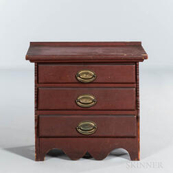Red-painted Pine Child's Chest of Three Drawers