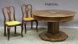 Queen Anne-style Inlaid and Burl Veneer Oak Pedestal-base Dining Table with Four   Side Chairs