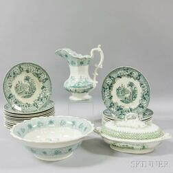 Twenty-six Green Transfer-decorated Tableware Items