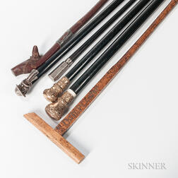 Six Walking Sticks or Canes