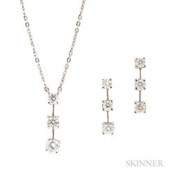 Platinum and Diamond Pendant Necklace and Earrings