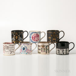Seven Wedgwood Commemorative Mugs