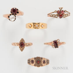 Six Victorian Gold Rings