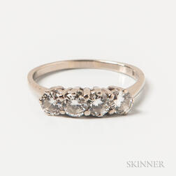 14kt White Gold and Four-diamond Ring