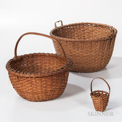 Two Large Woven Splint Baskets and a Small Strawberry Basket