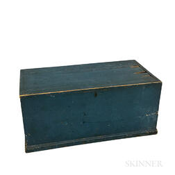 Country Blue-painted Pine Six-board Chest