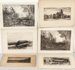Six Etchings:  Including Works by Charles Adams Platt (American, 1861-1933), Albion Harris Bicknell (American, 1837-1915), Jo...