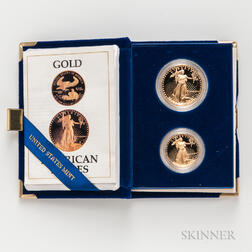 Cased 1987 $50 and $25 Proof American Gold Eagles.     Estimate $1,500-2,000