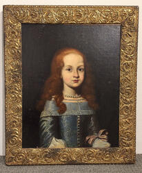 Northern European School, 17th Century Style      Portrait of a Red-haired Girl in Blue
