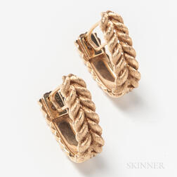 Pair of 14kt Gold Braided Cuff Links