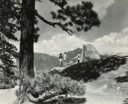Ansel Adams (American, 1902-1984) Five Photographs of Yosemite Valley: Including views of Nevada Fall, Mirror Lake, Half Dome as seen f