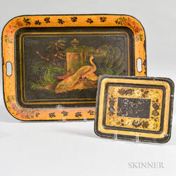 Large Tole Peacock Tray and a Small Tole Tray