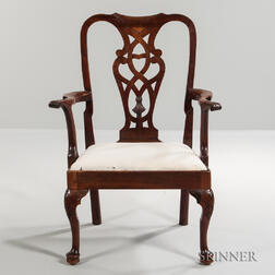 Carved Walnut Armchair