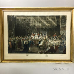 Three Large Framed George Hayther British Commemorative Engravings of Queen Victoria