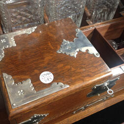 Silver-mounted Oak Tantalus