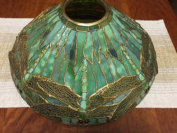 "Tiffany Studios ""Dragonfly"" Shade Table Lamp with Bronze Base"