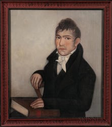 Ammi Phillips (New York/Connecticut, 1788-1865)      Portrait of a Gentleman with His Hand on a Book