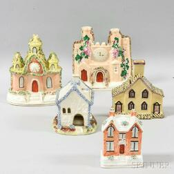 Five Staffordshire Ceramic Castles and Cottages