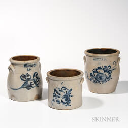Three Cobalt-decorated Stoneware Jars/Crocks