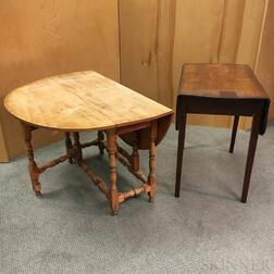 William and Mary-style Maple Gate-leg Table and a Federal Mahogany Pembroke Table.     Estimate $20-200