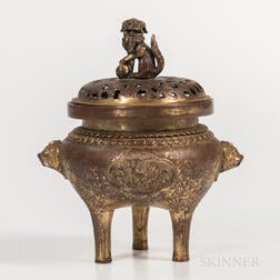 Gilt-bronze Tripod Censer and Cover