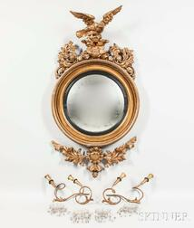 Classical Carved Gilt-gesso Girandole Mirror