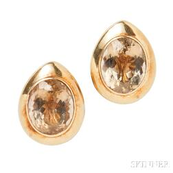 18kt Gold and Smoky Quartz Earclips