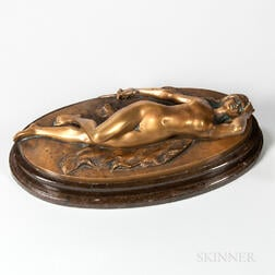 After Gotthilf Jaeger (German, 1871-1933)    Patinated Bronze Figure of a Reclining Nude