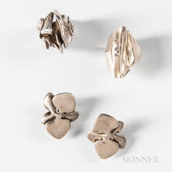 Three Pieces of Modern Designer Sterling Silver Jewelry