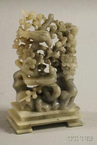 Speckled Jade Carving of Birds on a Flowering Tree