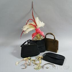 Four Beaded Headdresses and Hair Accessories, and Four Leather and Straw Handbags