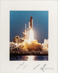 Space Shuttle STS-5, Two Crew Signed Photographs, November 11-16, 1982, and Four Posters.