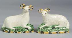 Pair of Staffordshire Pottery Figural Rams