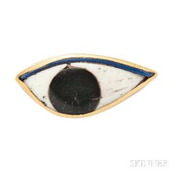 14kt Gold and Faience Brooch, Ed Wiener