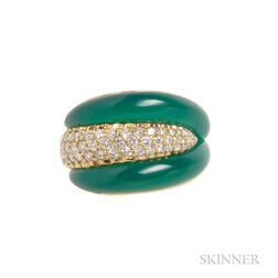 18kt Gold, Chrysoprase, and Diamond Ring