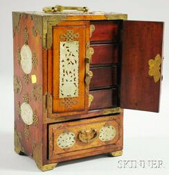 Jade-and Brass-mounted Wooden Jewelry Cabinet