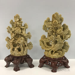 Near Pair of Celadon Soapstone Carvings