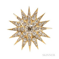 Antique Gold and Diamond Starburst Brooch