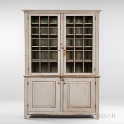 Gray-painted Glazed Cupboard
