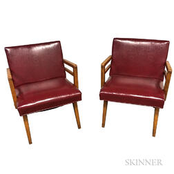 Pair of Mid-century Oxblood Lounge Chairs