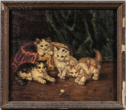 James Thomas Breen (American, 1859-1940) With or After Alfred Arthur Brunel de Neuville (French, 1852-1941) Kittens with a Ball of Yarn