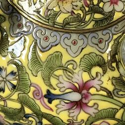 Yellow-ground Famille Rose Vase