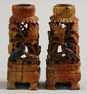 Pair of Carved Soapstone Candleholders