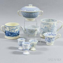 Eight Blue Transfer-decorated Vessels