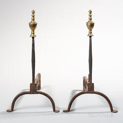 Pair of Wrought Iron Andirons with Brass Urn Finials