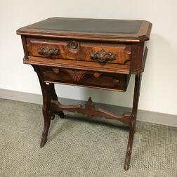 Victorian Carved Walnut Sewing Table