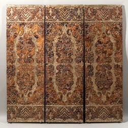 Continental Four-panel Tooled Leather Floor Screen