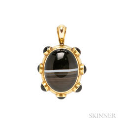 Antique Gold and Banded Agate Pendant