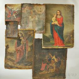 Spanish Colonial School, 18th to 20th Century Six Unstretched Canvases Depicting Religious Subjects: Female Saint (possibly St. Justina
