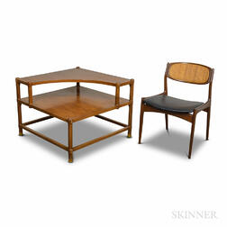 Selig Mid-century Modern Teak Chair and an Unmarked Corner Table.     Estimate $100-200